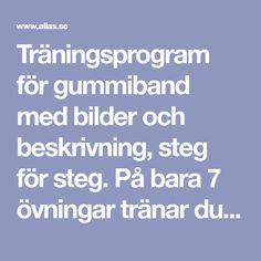 Träningsprogram för gummiband med bilder och beskrivning, steg för steg. På bara 7 övningar tränar du hela kroppen!