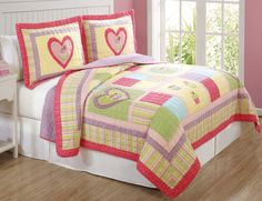 """Our full/queen quilt features 100% cotton patchwork and embroidery.  Girls Bedding Quilt measures86x86"""" includes two standard shams 20x26"""" !"""