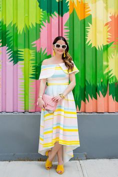 Jennifer Lake Style Charade in a pastel stripe midi dress, pink Chanel quilted flap bag, yellow suede slides at a colorful mural in Bushwick Brooklyn Casual Dresses, Short Dresses, Summer Dresses, Summer Outfits, Frock Fashion, Fashion Dresses, Striped Midi Dress, Western Dresses, One Piece Dress