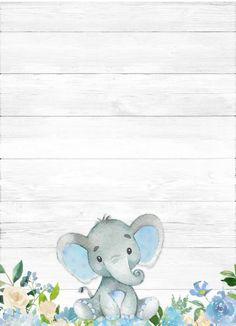 Baby Shower Decorations For Boys, Baby Shower Invitations For Boys, Baby Shower Printables, Baby Clip Art, Baby Art, Elephant Nursery, Baby Elephant, Baby Shower Gender Reveal, Baby Boy Shower