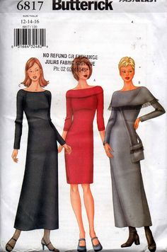 dbb5e276e262 Butterick 6817 Womens Stretch Knit Raglan Sleeved Dress   Handbag OOP Sewing  Pattern Size 12 14 16 Bust 34 36 38 inches UNCUT Factory Folds