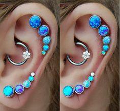 Cute Multiple Ear Piercing Ideas -  Daith & Rook Piercing Jewelry - Opal Cartilage Studs -  at MyBodiArt.com