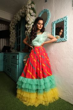 Mar 2020 - Looks to get Hook Of - AwesomeLifestyleFashion As glitter as it could be What a glamorous and beautiful look for a couple for functions like ther… Indian Bridal Outfits, Indian Bridal Fashion, Indian Designer Outfits, Half Saree Designs, Lehenga Designs, Lehnga Dress, Bandhani Dress, Saree Gown, Long Gown Dress