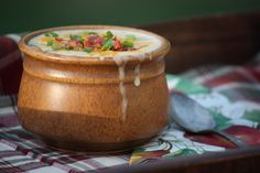 Homemade Baked Potato Soup Recipe. Totally thought the stuff on top was fruity pebbles...