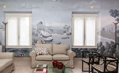 Modern mural wallpaper 'The Silk Road' design from Misha wallpaper, hand painted on White silk.