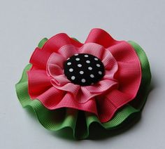 Watermelon Ribbon YoYo Hair Bow Pinks Greens Black by MarieDs, $8.00