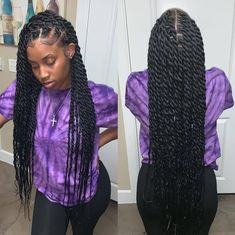 twist hairstyles For Black Women - Hottest Hair Color Trends for Women in 2019 Twist Braid Hairstyles, Easy Hairstyles For Medium Hair, Braided Hairstyles For Black Women, African Braids Hairstyles, Baddie Hairstyles, Braids For Black Hair, Black Girl Braids, Medium Hair Styles, Curly Hair Styles
