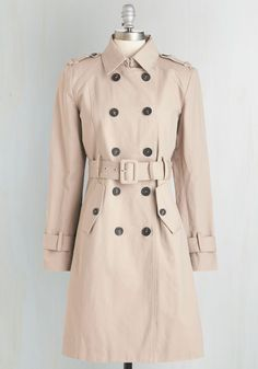 Empowered Professional Coat - Long, Cotton, Woven, Tan, Solid, Buttons, Pockets, Belted, Epaulets, Work, Casual, Military, Menswear Inspired, Double Breasted, Long Sleeve, Spring, Summer, Better, Brown, Long Sleeve, 2
