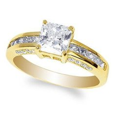 Princess cut 14k solid Yellow Gold 1.5 ct Engagement Ring Size 4 5 6 7 8 9 10  #yourdreamdiamonfd #SolitairewithAccents