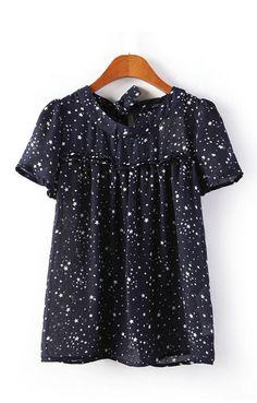 Stars Printing O-neck Short Sleeves T-shirt