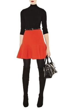 Karen Millen Turtleneck Knit Sweater and Bright Orange Skirt