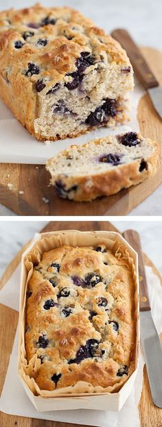 This quick bread has oatmeal mixed right in for extra health points in Blueberry Oatmeal Bread. Easy and delicious, will definitely make this again! Blueberry Oatmeal Bread, Healthy Blueberry Bread, Baking Recipes, Dessert Recipes, Breakfast Recipes, Breakfast Ideas, Healthy Breakfast Breads, Quick Bread Recipes, Breakfast Bake
