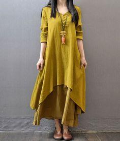 Yellow Maxi Dress Plus Sizes 3XL,4XL,5XL Linen Cotton Breathable Dress | Rudelynssarisaristore -  on ArtFire