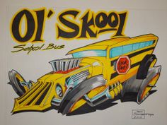 Hot rod School Bus Cartoon Car Drawing, Cartoon Rat, Car Drawings, Cartoon Pics, Hot Rod Tattoo, Hobby Kits, Car Humor, Caricatures, Artist At Work