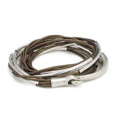 Leather Triple Wrap Bracelet, Leather Bangle, Hook Bracelet, Tube Bracelet