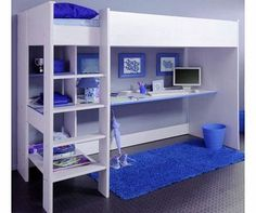 Parisot UK Smoozy Blue High Sleeper Bunk Bed A sleek loft bed thats great for the modern teenage bedroom. Under the raised bed platform of The Smoozy High Bed is a spacious writing desk perfect for study or play. Theres cleverly designed storag http://www.comparestoreprices.co.uk/bunk-beds/parisot-uk-smoozy-blue-high-sleeper-bunk-bed.asp