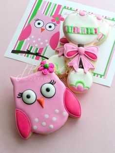 Pink Owl & Pink and Green Rattle Cookies Fancy Cookies, Iced Cookies, Cute Cookies, Royal Icing Cookies, Sugar Cookies, Cupcakes, Cupcake Cookies, Owl Cakes, Galletas Cookies