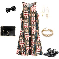 Print Dress by jpschwartz on Polyvore featuring H&M, Tory Burch, Rebecca Minkoff and Ray-Ban