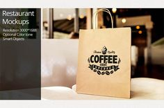 Paper Bag Mockup / Restaurant Mockup by shrdesign on @creativemarket