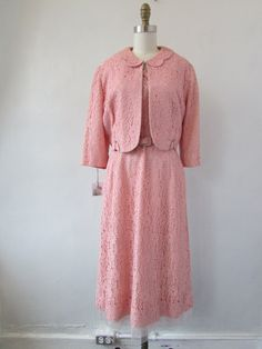 1950s lace dress and jacket | vintage 50s pink lace dress suit | large | The Annastia Dress Suit by VivianVintage8 on Etsy