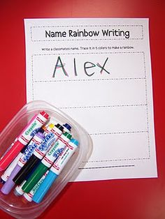 Record sheet for the activity 'Rainbow Names' (or 'Rainbow Words').  Love that activity!