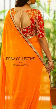PV 3531 : Orange and orangePrice : Rs 4900Bring back the sunshine in this bright and beautiful drape. An outa and out orange georgette stone studded sari finished with stone work border.Unstitched blouse piece - Orange and maroon colour shaded raw silk blouse piece as shown in the pictureFor Order 11 October 2017