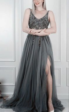 Gray prom dresses long tulle v neck evening gown sequins beaded with l – shinydress Evening Dresses, Prom Dresses, Formal Dresses, Grey Prom Dress, Tulle Dress, Ball Gowns, Sequins, Gray, Cherry