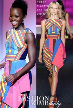 Lupita Nyong'o accepted the Visionary Award at Essence's Black Women in Hollywood Luncheon in a striped Spring 2015 dress by Peter Pilotto: The multicolore