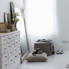dressing room with leaning mirror