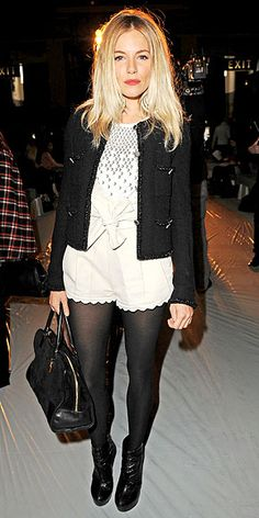 Shorts with tights and blazer