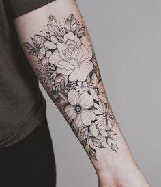 Nice floral arrangement sunflower tattoos, forearm flower tattoo, flower tattoo on forearm, small Mom Tattoos, Tattoo Girls, Trendy Tattoos, Black Tattoos, Body Art Tattoos, Tribal Tattoos, Tattoos For Guys, Tatoos, Floral Tattoos