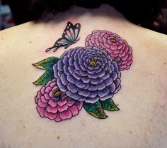dark colored tattoos for coverups | Zinnias and Butterfly Cover Up by Steve Fawley