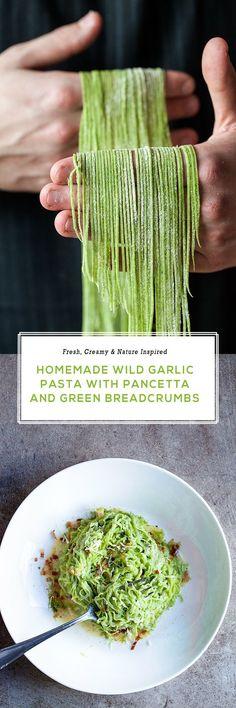 Fresh, light, homemade wild garlic pasta with a creamy sauce and wild garlic breadcrumbs. | Jernej Kitchen