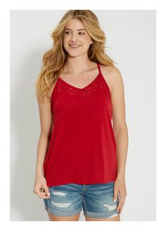 """Maurices.com Plus Size"" by heatherstarcollins ❤ liked on Polyvore featuring tops, red tank, red top, red lace tank, lace tank top and lacy tops"