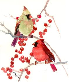 Cardinal birds, male and female cardinals 14 X 11 in, original one of a kind watercolor painting, two cardinal birds by ORIGINALONLY on Etsy