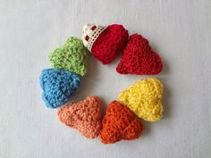 3D crochet heart and granny triangle bunting pattern