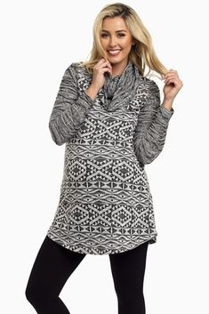 Grey-Tribal-Cowl-Neck-Knit-Maternity-Top