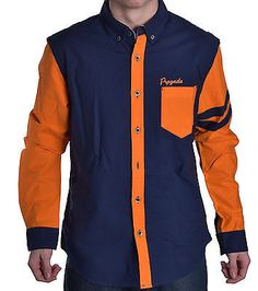 Prpgnda Men's Vibrant Navy Orange Button Up Shirt