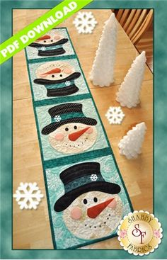 Patchwork Snowman Table Runner - PDF DOWNLOAD: THIS PRODUCT IS A PDF DOWNLOAD that must be downloaded and printed by the customer. A paper copy of the pattern will not be sent to you. What a fun way to celebrate winter! This quick and easy table runner pattern features easy patchwork and simple applique. Finished size of 12 1/2