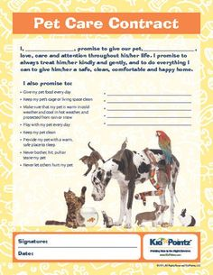 Pet Care Agreement | Teaching Kids |Kid Pointz