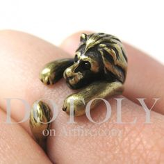 Miniature Lion Ring in Bronze Sizes 5 to 9 available  The Lioness really wants this adorable ring!  #cardtales #Judith, The Lioness
