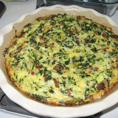 Crustless Bacon, Spinach  Swiss Quiche. Added tomatoes and used marble jack instead of Swiss. Delicious!