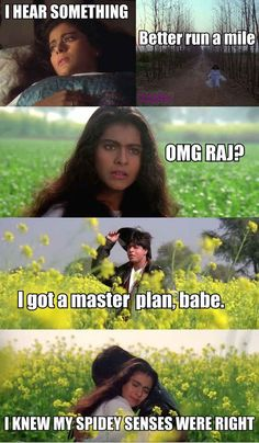"""Here's An Accurate And Honest Summary Of """"Dilwale Dulhaniya Le Jayenge"""" Crazy Funny Memes, Really Funny Memes, Wtf Funny, Funny Jokes, Hilarious, Kajol Dilwale, Shahrukh Khan And Kajol, Bollywood Funny, Bollywood Quotes"""