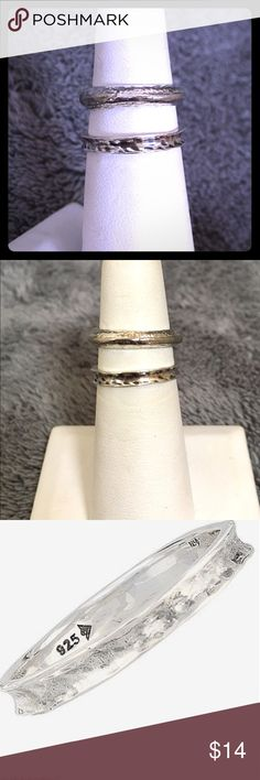 Silpada sterling silver stackable rings Silpada. .925 sterling silver / no nickel. Top ring is size 5 / bottom is size 6. Top ring is convex, and bottom ring is concave. The last three pictures from company feature the bottom ring. Very last picture shows the bottom ring in a stack with some rings found in separate listing in my closet. Price is for each ring. Bundle for $25. Silpada Jewelry Rings