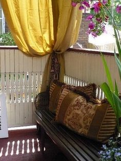 I love the idea of hiding my porch's hideous ceiling with draped canvas drop cloth that would turn into curtains. Rustic and lovely. Front Porch Curtains, Balcony Curtains, Outdoor Curtains, Outdoor Cushions, Front Porches, Orange Curtains, Outdoor Spaces, Outdoor Decor, Outdoor Furniture