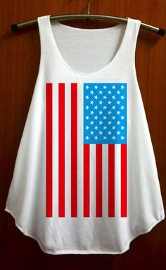 Flag United States American Shirt Tank Top Women Shirts Clothing Size S M