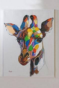 """Kunst für das Wohnzimmer oder Schlafzimmer Casablanca •• Ölbild """" Giraffe """" bunt auf Leinwand 60 x 80 cm auf Holzrahmen, handgemalt, Gewicht: ca. 1,3 kg www.muellerland.de/sortiment/produkt/casablanca-oelbild-3/"""