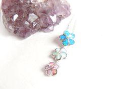 Opal Plumeria Necklace  Three Tier Necklace Opal by AlwaysCrafty77, $45.00