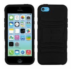 APPLE iPhone 5C Black Black Advanced Armor Stand Protector Cover