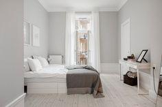 White & grey bedroom
